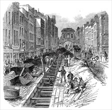 Fleet-Street, deepening the sewer, 1845. Creator: Unknown.