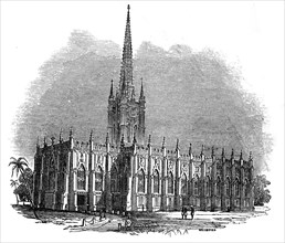 St. Paul's Cathedral, Calcutta, 1845. Creator: Josiah Wood Whymper.