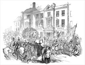 The Cymreigyddion Festival - the procession through Abergavenny, 1845. Creator: Smyth.