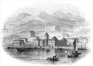 Victoria Barracks, Hong Kong - from a sketch by a correspondent, 1845. Creator: Unknown.