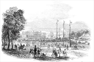 Rustic sports in the Park - north view of Harewood House, 1845. Creator: Unknown.