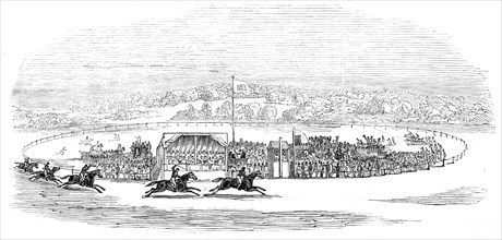 """Races at Wheat Croft - Col. Thompson's """"Hamlet"""" winning the Lascelles Cup, 1845. Creator: Unknown."""