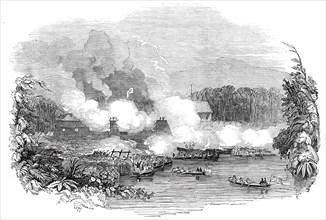 The British Admiral's attack on the Borneo pirates, 1845. Creator: Unknown.