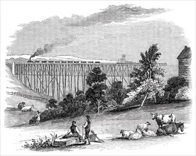 Timber Viaduct on the Darlington and Newcastle Railway, 1844. Creator: Unknown.