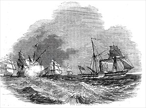 Supposed case of a steamer pursued by an enemy, 1844. Creator: Unknown.