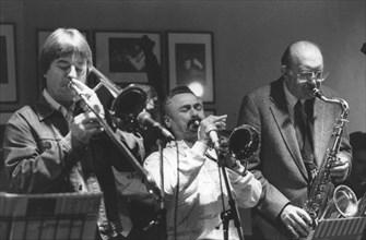 Shorty Rogers, Bill Watrous and Bob Cooper, Ronnie Scotts, Soho, London, c1982.