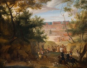View Of Versailles With Louis XIV And Huntsmen