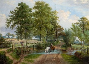 Rural Scene With Horses at Stream