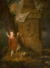 Artist's Advertisement - Cherub with Kite at Monument [undated]. Creator: James Millar.