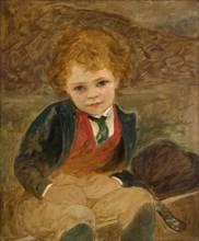 Study Of A Boy Sitting In A Wheelbarrow