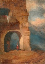 Italian peasant in stone archway