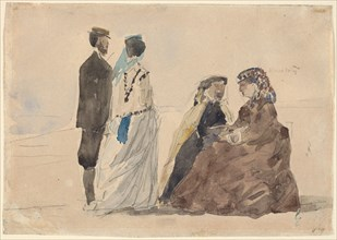 Two Ladies Seated and a Couple Walking on the Beach
