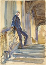 Sir Neville Wilkinson on the Steps of the Palladian Bridge at Wilton House