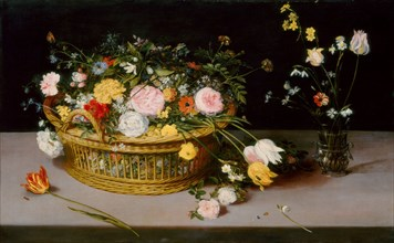 Flowers in a Basket and a Vase