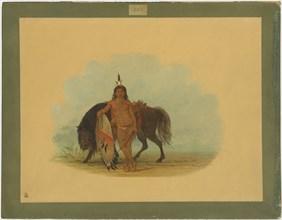 A Cheyenne Warrior Resting His Horse