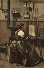 Corot's Studio: Woman Seated Before an Easel