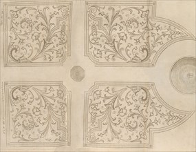 Design for a fountain and four square parterres for a pleasure garden