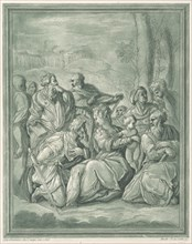 Virgin and child surrounded by figures