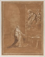 Madonna and child appearing before a kneeling saint