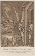 A shepherd holding a lion on a leash in the foreground