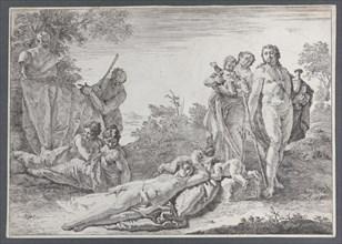 Nine Figures near a Herm of Pan