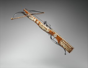 Pellet and Bolt Crossbow Combined with a Wheel-Lock Gun