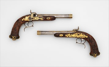 Cased Pair of Percussion Target Pistols with Loading and Cleaning Accessories