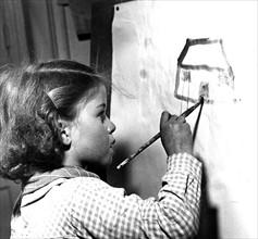 Ecolière de l'Ecole Nouvelle de Boulogne, en 1949