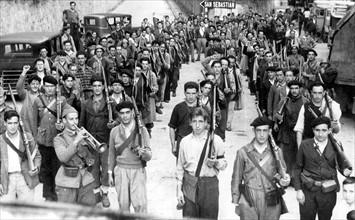 Miliciens espagnols, en 1936