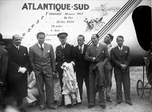 Carte postale célébrant la traversée de l'Atlantique-Sud, 1934