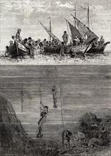 Pêcheurs de perles à Ceylan, 19e siècle
