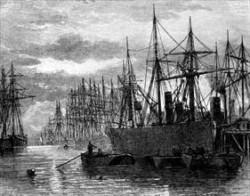 Navires déchargeant du charbon sur les quais de Londres - 19th century