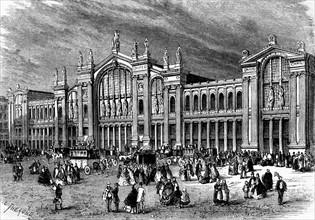 Vue extérieure de la nouvelle gare du Nord  - Paris. 19e siècle