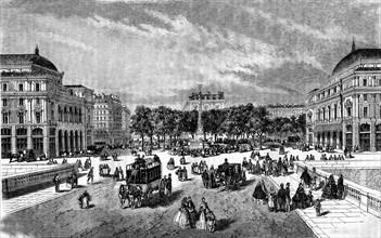 Vue de la nouvelle place du Châtelet - Paris. 19e siècle