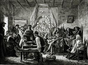 Cérémonie funéraire au Chili. 19e siècle