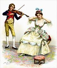 Le violon - Chromo Au Bon Marché