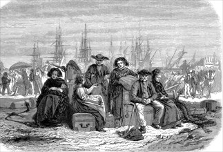 Les émigrants débarquent en Amérique