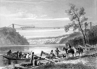 Pont suspendu sur Le NIAGARA en 1866