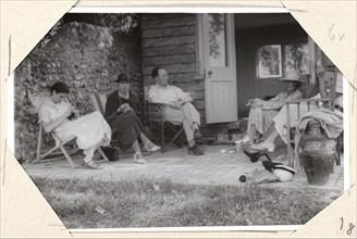 Angelica Garnett, Vanessa Bell, Clive Bell, Virginia Woolf, John Maynard Keynes and Lydia Lopokova at Monk's house