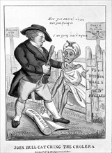 John Bull defending Britain against the invasion of cholera