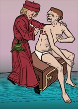 One of the first known illustrations of a physician lancing a wound -- here, a boil or vesicle on a plague victim.