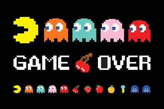 Game over screen of Pac man. COPYRIGHT: Namco
