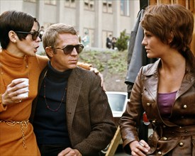 """Neile Adams, Steve McQueen, Jacqueline Bisset, during a break in filming """"Bullitt"""" (1968) Solar Productions   File Reference # 33505_106THA  For Editorial Use Only -  All Rights Reserved"""