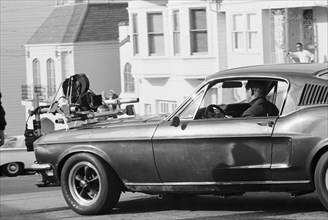 """Studio Publicity Still from """"Bullitt""""  Steve McQueen in a 1968 Ford Mustang  1968 Solar Productions   File Reference # 32914_038THA"""