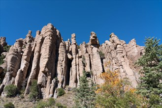 Organ Pipe Formation of rhyolite rock in the mountains at Chiricahua National Monument