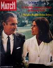 Frontpage of French news and people magazine Paris-Match, n° 1170, Jacques Chaban-Delmas, new french Prime Minister, poses with his wife, 1971, France