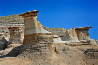 Hoodoos at the Badlands in Drumheller, Alberta, Canada, North America. Horizontal format