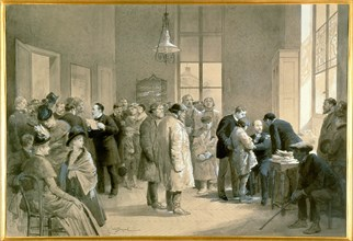 Patients bitten by rabid dogs being inoculated against hydrophobia at the laboratory of the Ecole Normale, Paris, 1886, Louis Pasteur is on right of group on left holding sheets of paper. Painting by ...