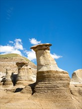 Hoodoos, striking geological formations, in the badlands just outside of Drumheller, Alberta, Canada.