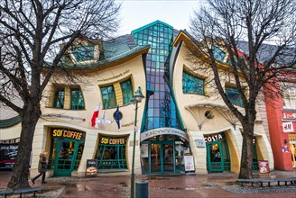 "Crooked little house (Polish ""Krzywy Domek"") is an unusually shaped building in Sopot, Poland"